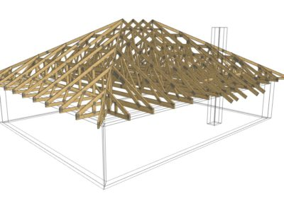 konstrukcja dachu 3d