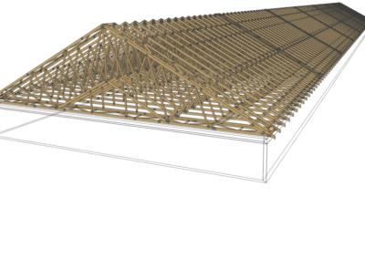 projekt 3d wiązarów na budynku